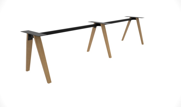 Madera Timber Leg Linear Desk Frame Only