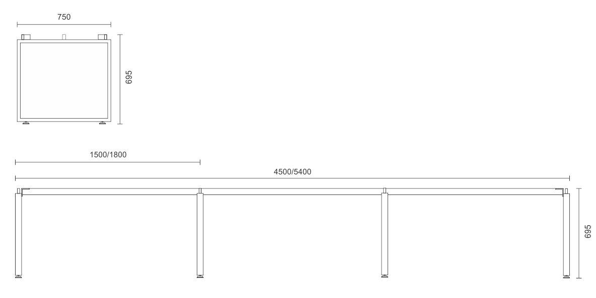 Horizon Linear Desk Frame Only